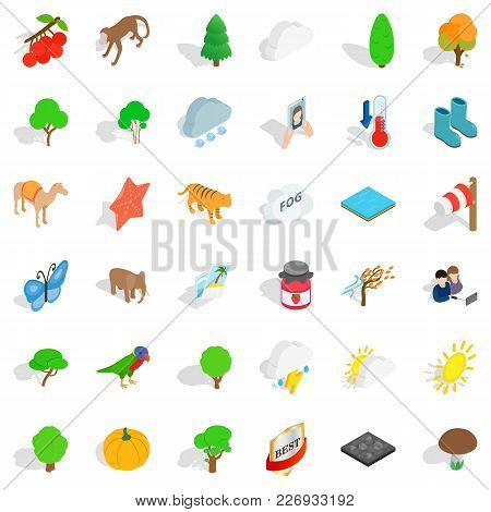 Topography Icons Set. Isometric Set Of 36 Topography Vector Icons For Web Isolated On White Backgrou