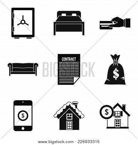 Property Icons Set. Simple Set Of 9 Property Vector Icons For Web Isolated On White Background