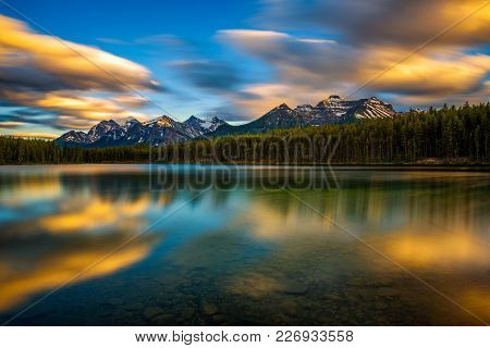 Scenic Sunset Over Herbert Lake Along The Roadside Of The Icefields Parkway In Banff National Park,