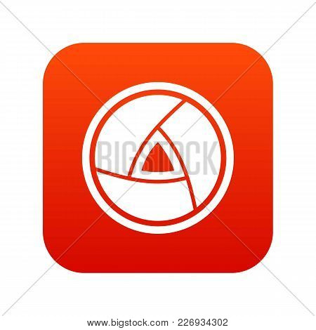 Objective Icon Digital Red For Any Design Isolated On White Vector Illustration