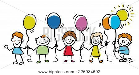 Happy Kids With Balloons Together. Hand-drawn Sketched Doodles In Beautiful Outfits And Costumes. Mo
