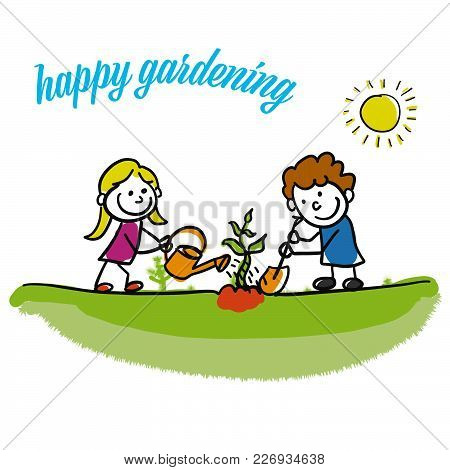 Happy Gardening Stickman Kids. Hand-drawn Sketches Doodles In Beautiful Outfits And Costumes. Modern
