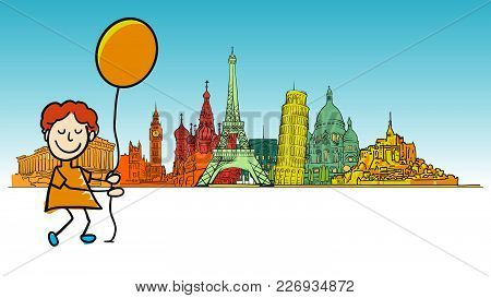 Boy Traveling In Europe. Hand-drawn Sketches In Beautiful Outlines And Colors. Modern Vector Illustr
