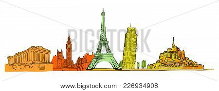 Famous Colored Landmarks Set. Hand-drawn Sketches In Beautiful Outlines And Colors. Modern Vector Il