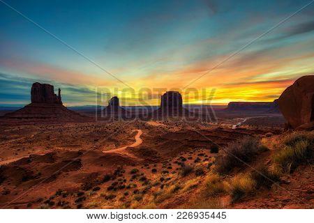Dramatic Sunrise Over Monument Valley In Arizona, Usa.