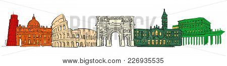 Italy Famous Travel Banner. Hand-drawn Sketches In Beautiful Outlines And Colors. Modern Vector Illu