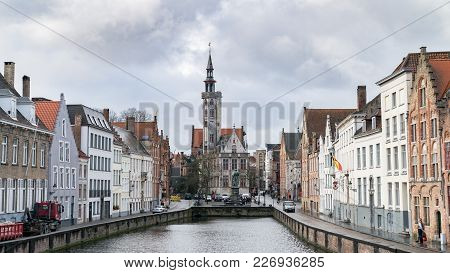 Bruges, Belgium - February 2018: Poortersloge, Aka Burghers Lodge, At Spiegelrei Canal In Bruges, Be