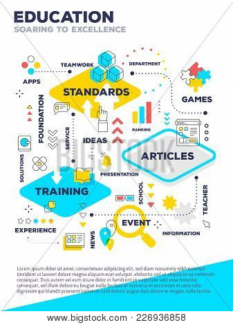 Education Composition Poster Concept. Vector Creative Color Template Illustration Of Graph Business