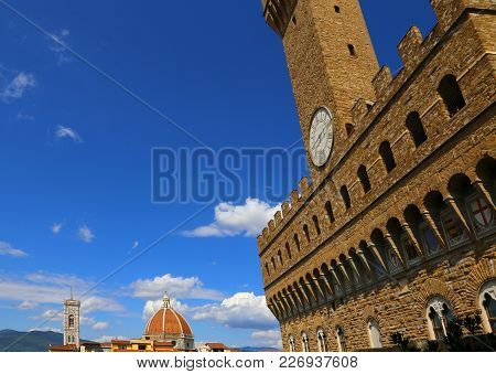 Florence Italy The Main Monument In The City Duomo With Bell Tower Of Giotto And Old Palace Called P