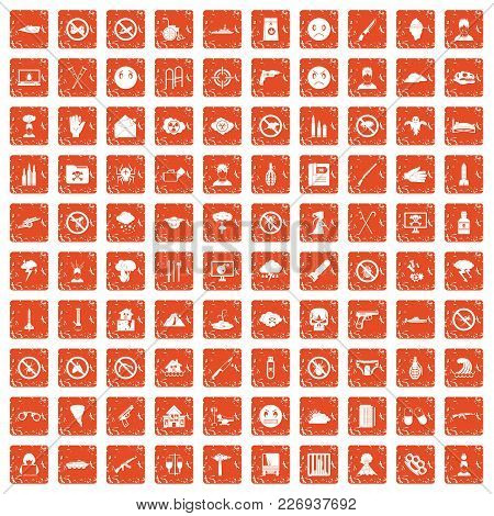 100 Tension Icons Set In Grunge Style Orange Color Isolated On White Background Vector Illustration