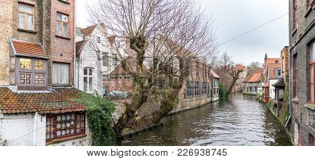 Bruges, Belgium - February 2018: Scenery Of Water Canal In Bruges In Winter, Venice Of The North, Ci