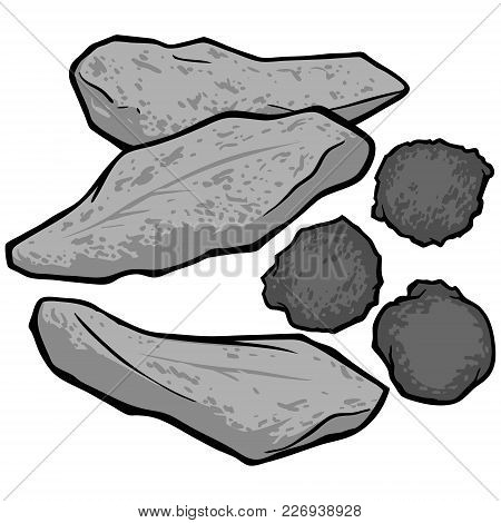 Fried Fish And Hushpuppies Illustration - A Vector Cartoon Illustration Of Some Fried Fish And Hushp