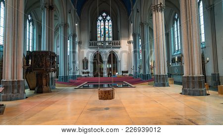 Bruges, Belgium - February 2018: Interior Swing And Pool Of Church Of St Magdalene In The City Of Br