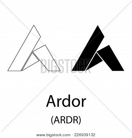 Black Ardor Cryptocurrency Symbol Isolated On White Background