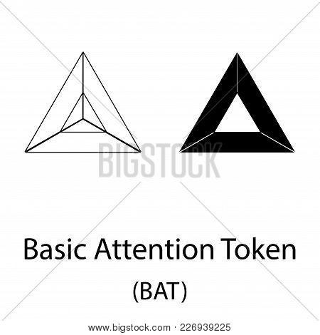 Black Bat Cryptocurrency Symbol Isolated On White Background
