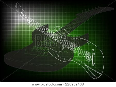 Guitar On A Green Background. Drawing. 3d Model
