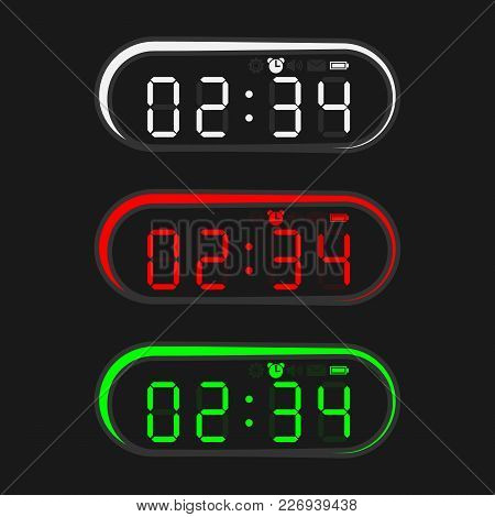 Colorful Electronic Clock In Oval Shape. Clock With Light On A Black Background.