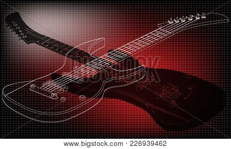 Guitar On A Red Background. Drawing. 3d Model
