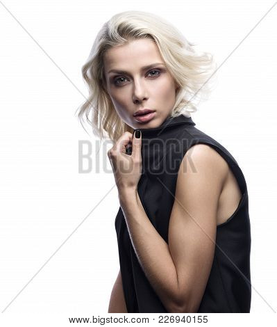 Fashion Portrait Of Beautiful Young Woman Isolated On White Background. Sensual Look, Stylish Appear