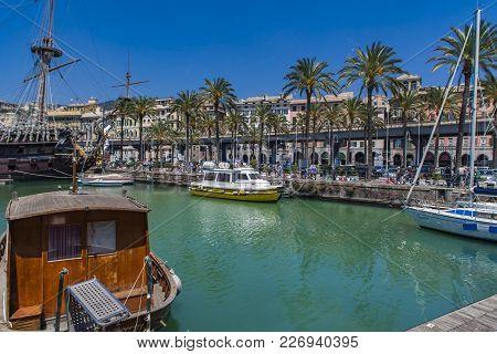 Genoa, Italy - April 29, 2017: Galleon Neptun In Porto Antico In Genoa, Italy. It Is A Ship Replica