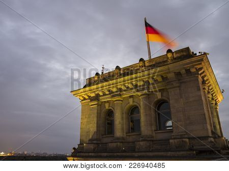 The German Parliament Bundestag Reichstag Building Terrace At Evening