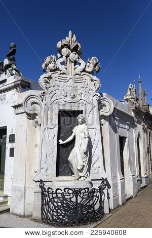 Buenos Aires, Argentina - January 19, 2018: Detail From La Recoleta Cemetery In Buenos Aires, Argent