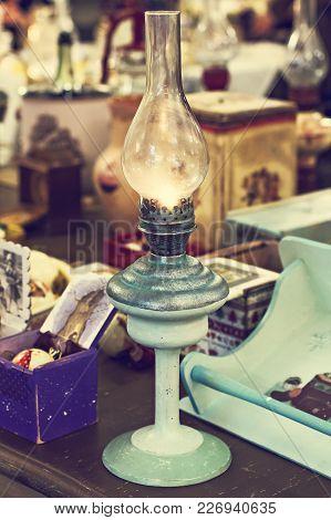 Ancient Kerosene Lamp. Vintage Store, Flea Market.