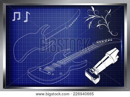 Guitar On A Blue Background. Drawing. 3d Model