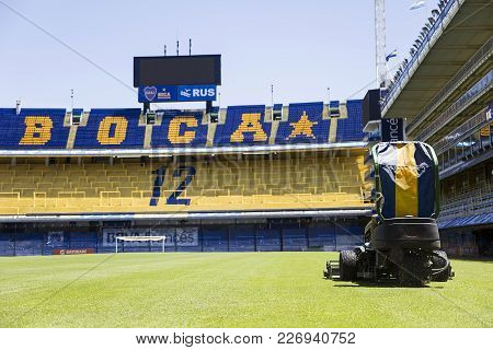 Buenos Aires, Argentina - January 20, 2018: Lawnmower From La Bombonera Stadium In Buenos Aires, Arg
