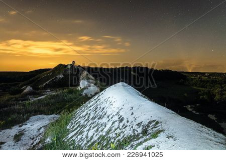 Night Sky Over The High Chalk Hills. Night Natural Landscape. Natural Archaeological Monument - Krap
