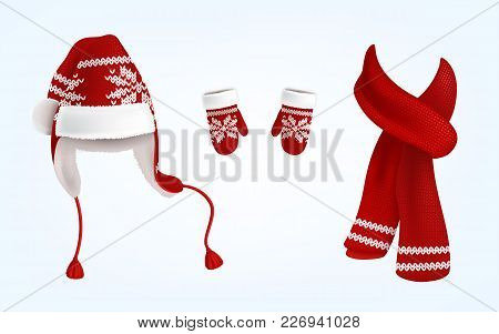 Vector Realistic Illustration Of Knitted Santa Hat With Earflaps, Red Mittens And Scarf With Decorat
