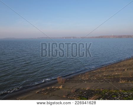 Lakeside Landscape Of Artificial Water Goczalkowice Reservoir In Poland With Waterfront And Clear Bl