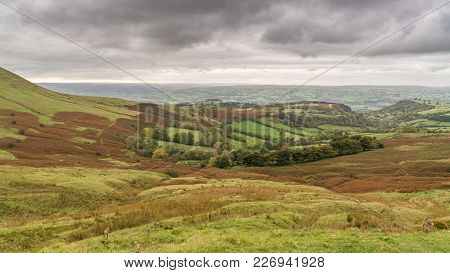View Over The Landscape Of The Brecon Beacons National Park On A Cloudy Day, Seen From Gospel Pass,