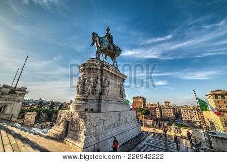 Rome, Italy - October 12, 2017. Vittorio Emanuele Ii Statue In Altar Of The Fatherland