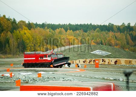 Nizhniy Tagil, Russia - September 25. 2013: Direct Fire Suppression Vehicle Mpt-521 Moves. Display O