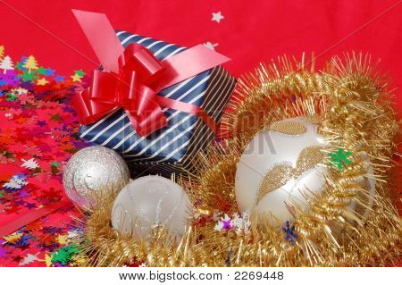 Gift Box And Xmas Decoration
