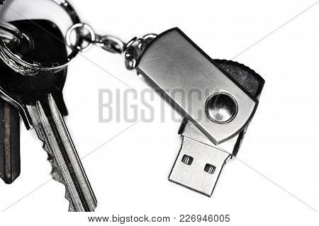 Keyring With A Usb Keychain Photographed In Studio On White Background.