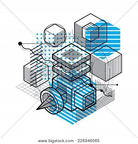 Abstract Background With Isometric Lines, Vector Illustration. Template Made With Cubes, Hexagons, S