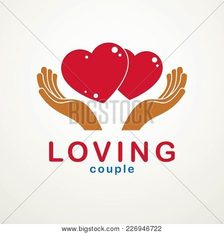 Couple In Love Simple Vector Logo Or Icon Created With Red Glossy Hearts And Care Protecting Hands.