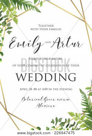Wedding Floral Invitation, Invite, Save The Date Template. Vector Modern Elegant Card Design With Na