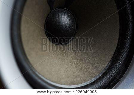 Round Audio Speaker Technology. Modern Black Circle Woofer