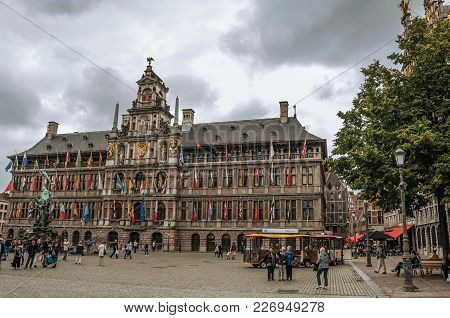 Antwerp, Northern Belgium - July 02, 2017. City Hall And People At The Grote Market Square In Antwer