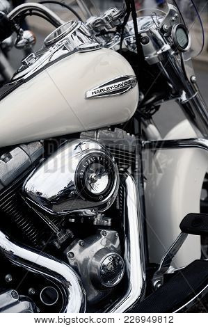 Beaucaire, France - April 30, 2016: Close Up On A Harley Davidson At A Gathering Of American Motorcy