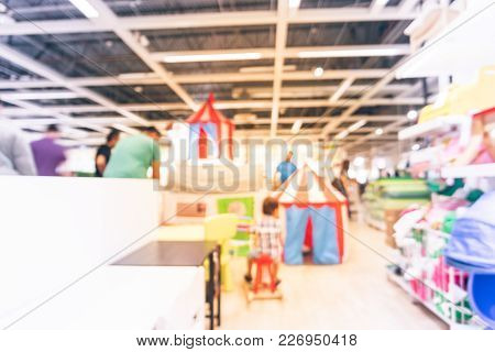 Blurred Vivid Kid Playing Room, Play Corner In Furniture Store