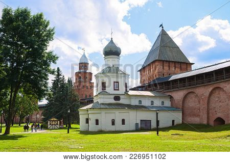 Veliky Novgorod, Russia -august 12, 2016. Towers Of Veliky Novgorod Kremlin - Kokui And Intercession