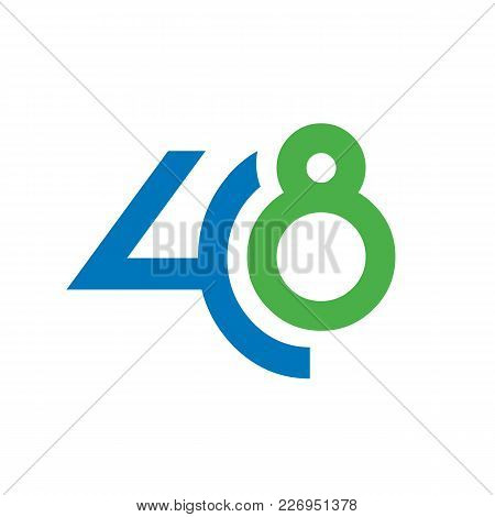 Number 48 Vector Illustration. Isolated On White Background. Available In Resizable Eps Vector Forma