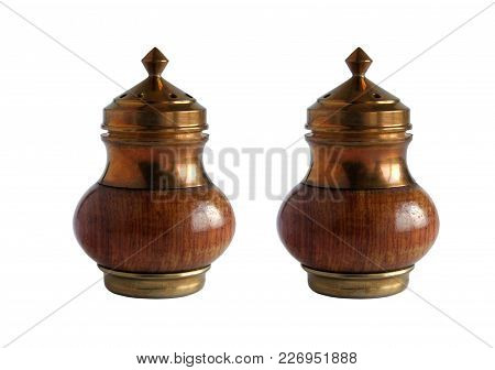 Vintage Wooden And Brass Salt And Pepper Set Isolated On White Background