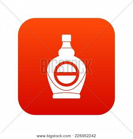 Maple Syrup In Glass Bottle Icon Digital Red For Any Design Isolated On White Vector Illustration