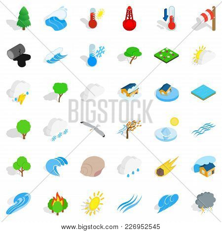 Peaceful Place Icons Set. Isometric Set Of 36 Peaceful Place Vector Icons For Web Isolated On White