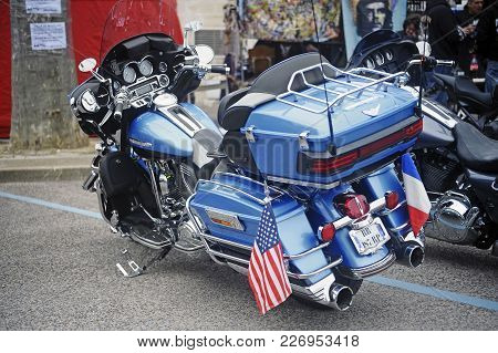 Beaucaire, France - April 30, 2016: Honda Goldwing Custom To A Gathering Of American Motorcycles In